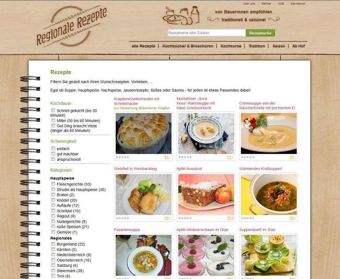 Homepage Regionale Rezepte © Verein zur Förderung von Regional- und Agrarprojekten